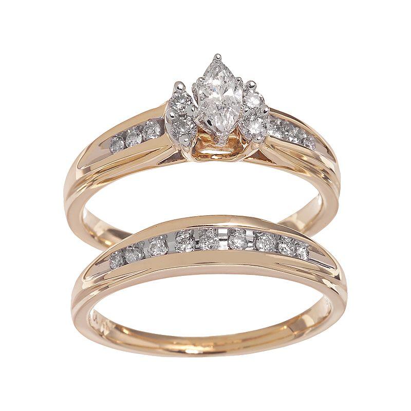 Cherish Always Marquise-Cut Diamond Engagement Ring Set in 14k Gold (1/2 ct. T.W.)