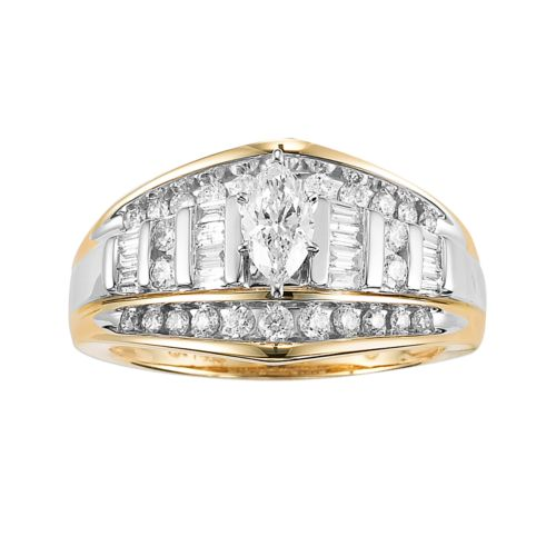 Cherish Always 10k Gold and Rhodium 1-ct. T.W. Diamond Marquise-Cut Ring