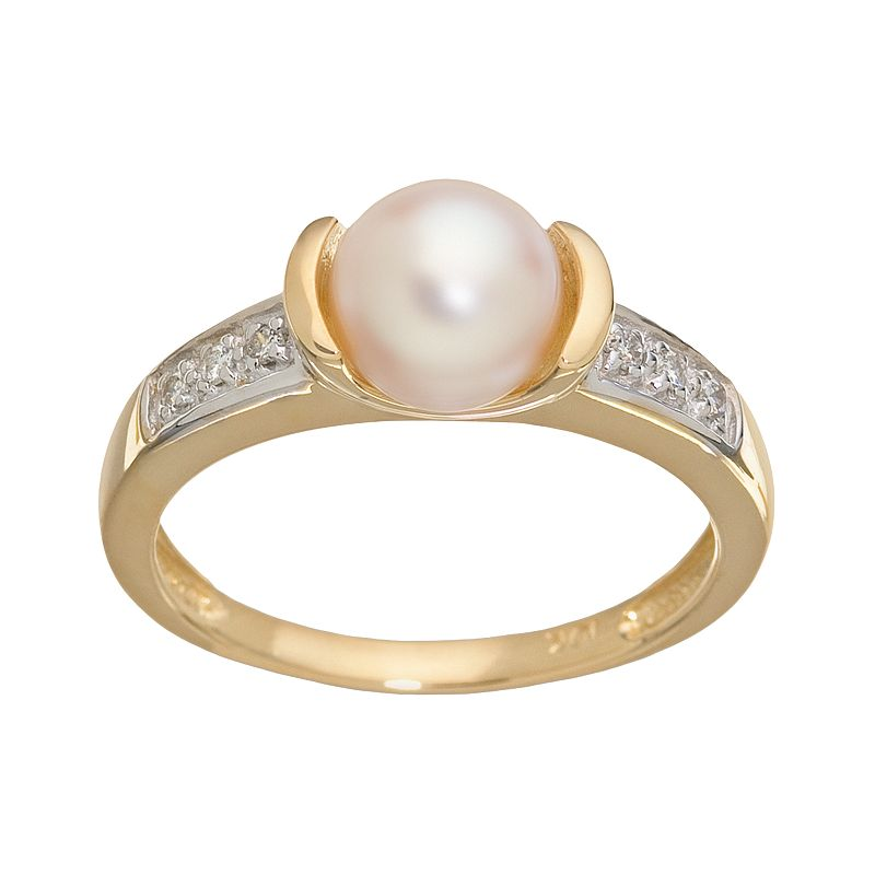 PearLustre by Imperial 10k Gold Channel-Diamond Freshwater Cultured Pearl Ring