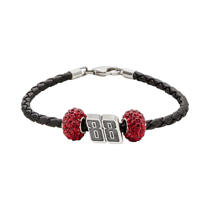 Insignia Collection NASCAR Dale Earnhardt Jr. Leather Bracelet and Sterling Silver Crystal and 88 Bead Set