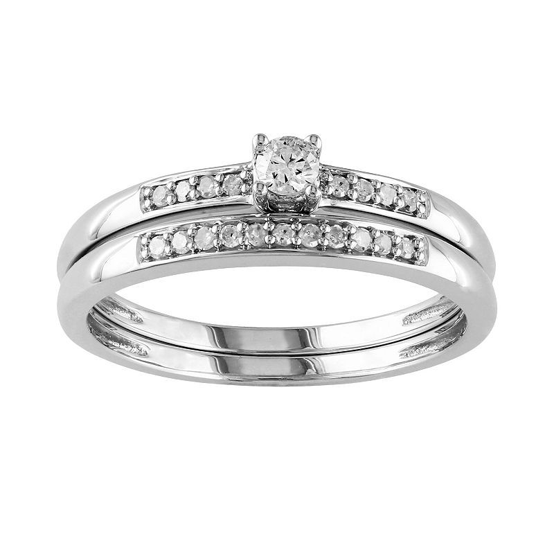Round-Cut Diamond Engagement Ring Set in Sterling Silver (1/5 ct. T.W.)
