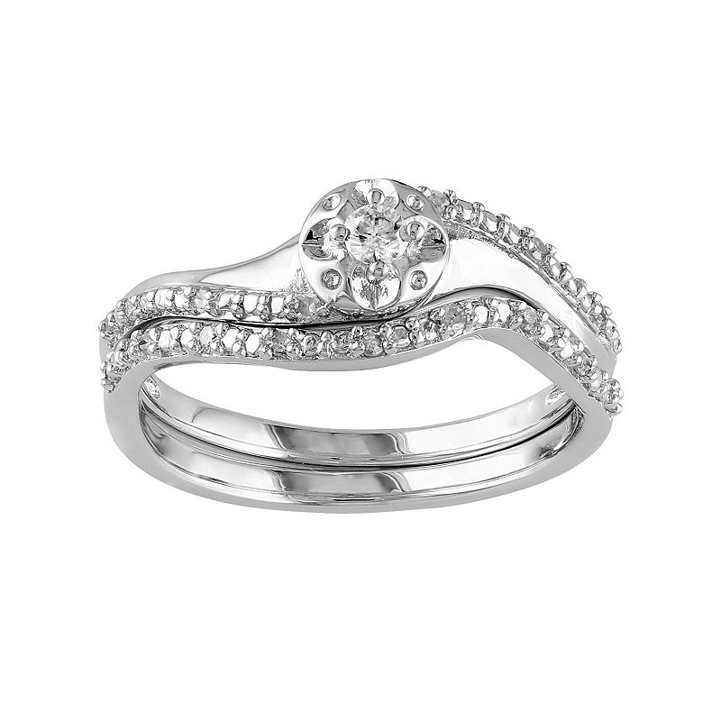 Round-Cut Diamond Engagement Ring Set in Sterling Silver (1/7 ct. T.W.)