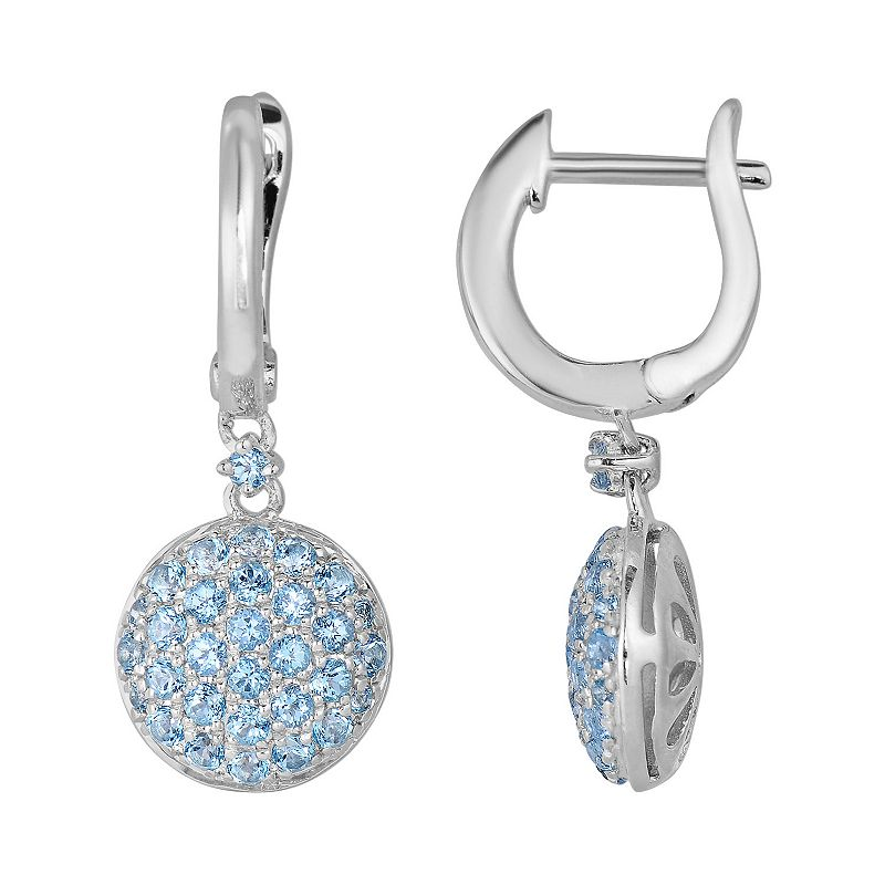 Oro Leoni Sterling Silver Blue Topaz Disc Drop Earrings - Made with Genuine Swarovski Gemstones