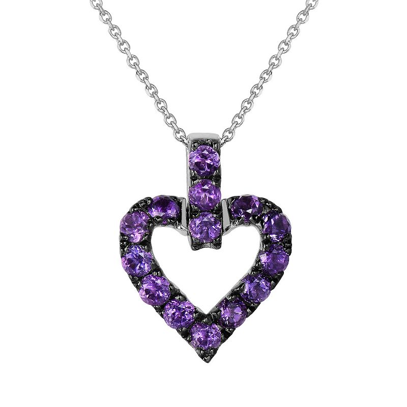 Oro Leoni Sterling Silver Amethyst Heart Pendant - Made with Genuine Swarovski Gemstones