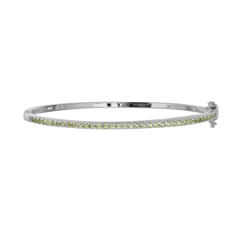 Oro Leoni Sterling Silver Peridot Bangle Bracelet - Made with Genuine Swarovski Gemstones