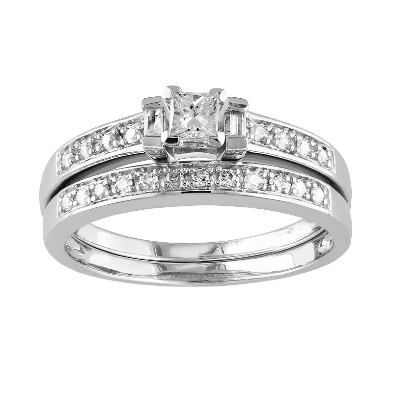 Princess-Cut Diamond Engagement Ring Set in Sterling Silver (1/3 ct. T.W.)