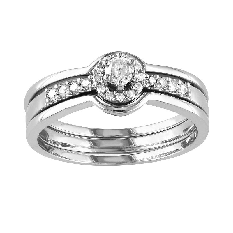Round-Cut Diamond Frame Engagement Ring Set in Sterling Silver (1/4 ct. T.W.)
