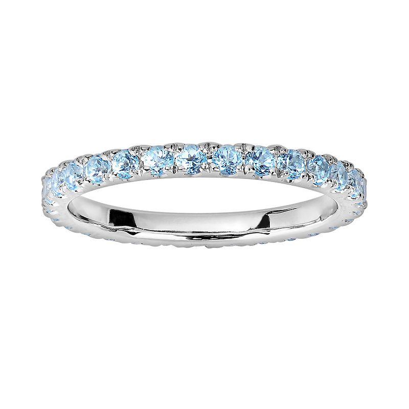 Oro Leoni Sterling Silver Blue Topaz Eternity Ring - Made with Genuine Swarovski Gemstones