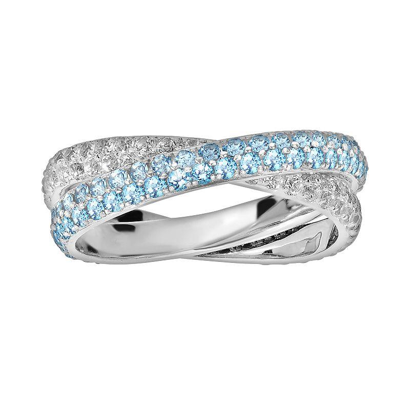 Oro Leoni Sterling Silver Blue and White Topaz Crisscross Ring - Made with Genuine Swarovski Gemstones
