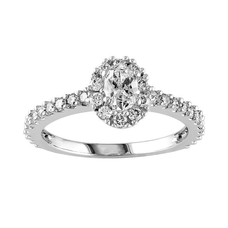 14k White Gold 1-ct. T.W. Oval-Cut Diamond Frame Ring