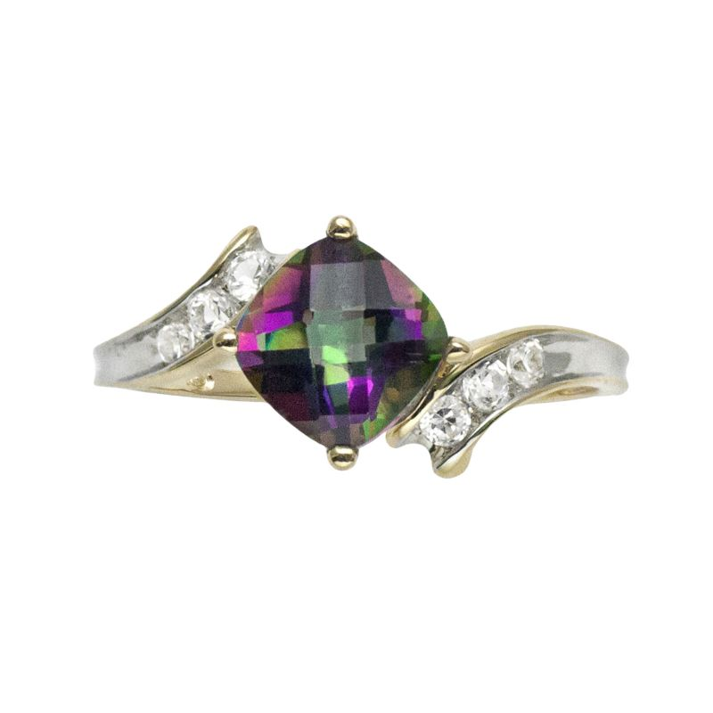 10k gold mystic fire topaz and lab created white sapphire bypass ring