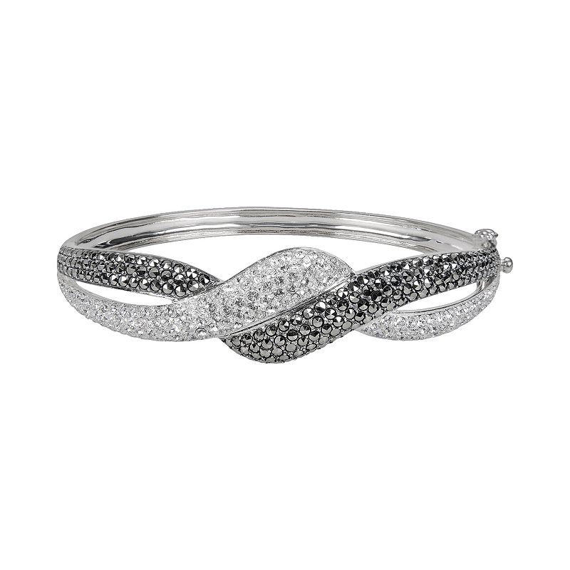 Lavish by TJM Sterling Silver Crystal Twist Bangle Bracelet - Made with Swarovski Marcasite