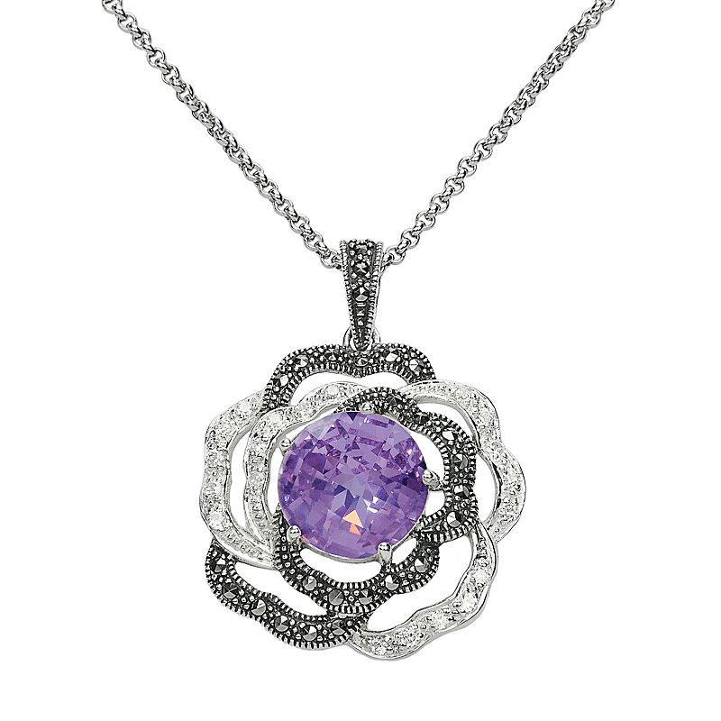 Lavish by TJM Sterling Silver Purple and White Cubic Zirconia Flower Pendant - Made with Swarovski Marcasite