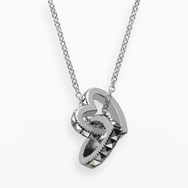 Lavish by TJM Sterling Silver Interlocking Heart Pendant - Made with Swarovski Marcasite