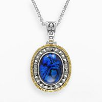 Lavish by TJM 14k Gold Over Silver & Sterling Silver Blue Abalone Doublet Pendant - Made with Swarovski Marcasite