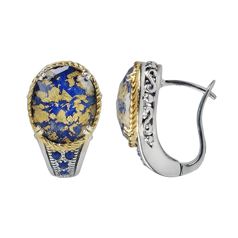 Lavish by TJM 14k Gold Over Silver and Sterling Silver Lapis and Crystal Doublet Halo Stud Earrings