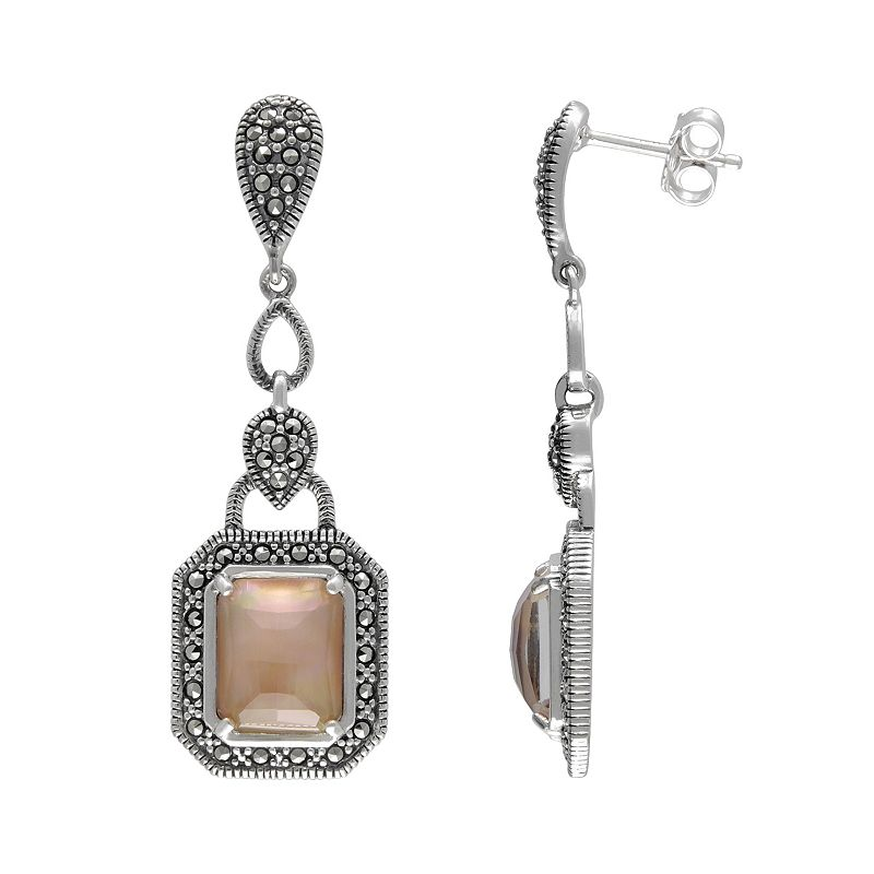 Lavish by TJM Sterling Silver Mother-of-Pearl and Crystal Doublet Earrings - Made with Swarovski Marcasite