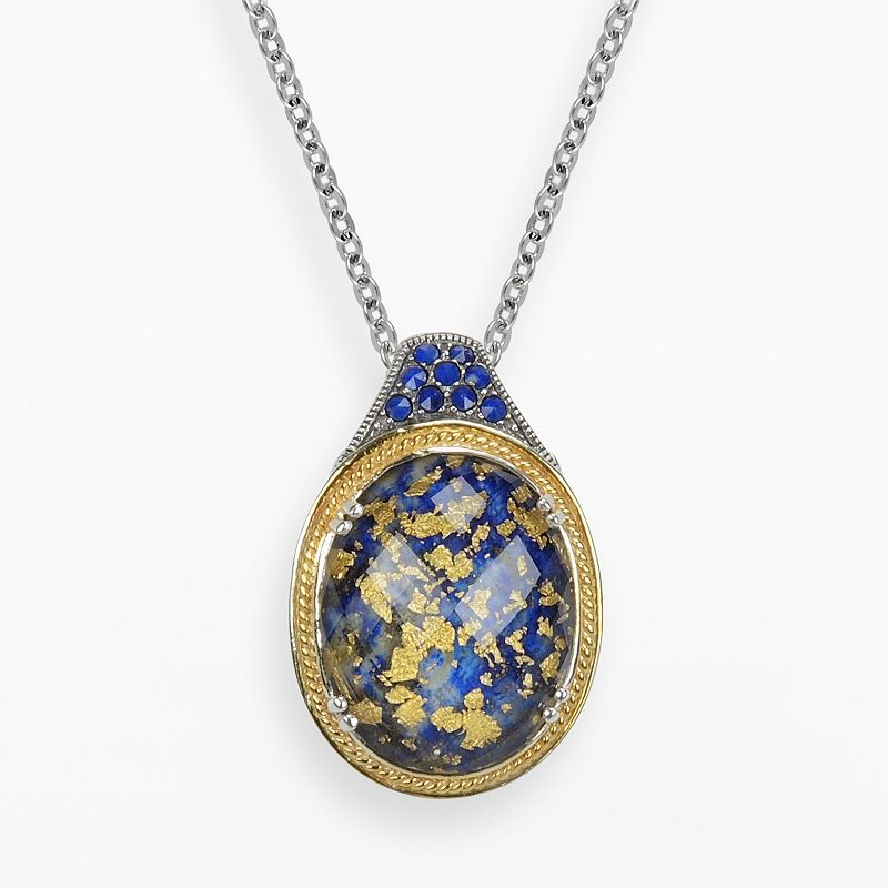 Lavish by TJM 14k Gold Over Silver and Sterling Silver Lapis and Crystal Doublet Pendant