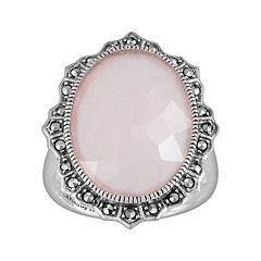 Lavish by TJM Sterling Silver Pink Chalcedony Ring Made with Swarovski Marcasite by