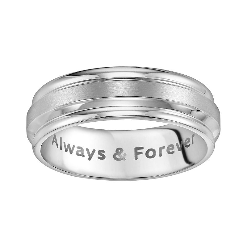 Cherish Always Stainless Steel Always and Forever Wedding Band - Men