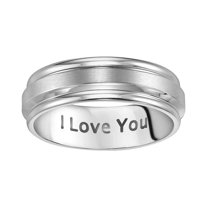 Cherish Always Stainless Steel I Love You Wedding Band - Men