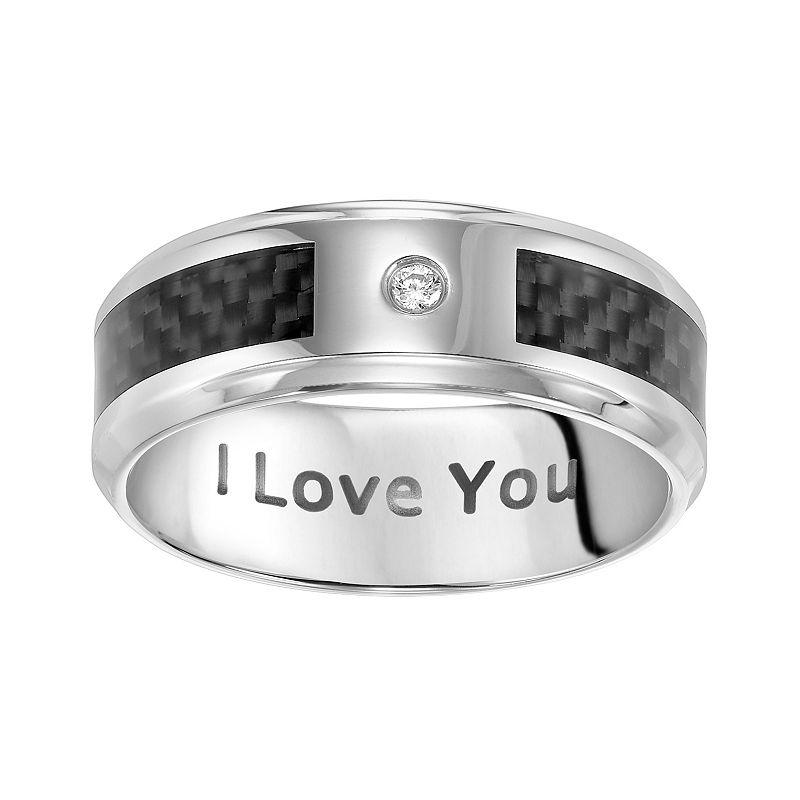 Cherish Always Stainless Steel Diamond Accent I Love You Wedding Band - Men