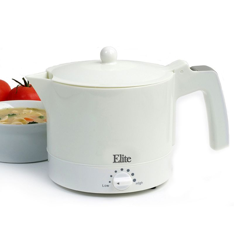 Elite Cuisine Electric Hot Pot with Egg Cooker and Steam Rack