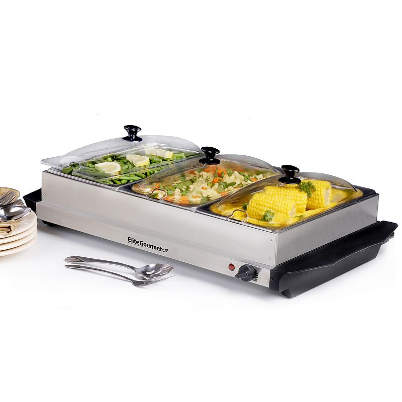 Elite Platinum Stainless Steel Electric Triple Buffet Server