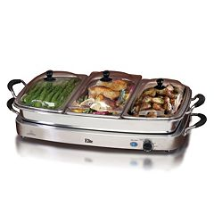 Elite Platinum Deluxe Stainless Steel Electric Triple Buffet Server