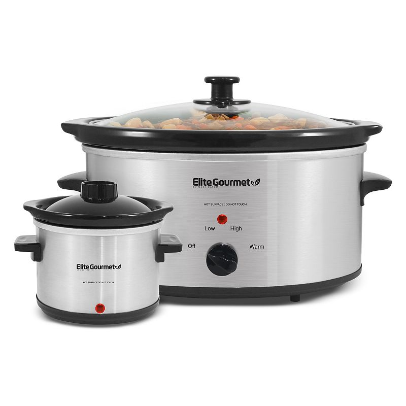 Elite Cuisine 5-qt. Stainless Steel Slow Cooker with Mini Dipper