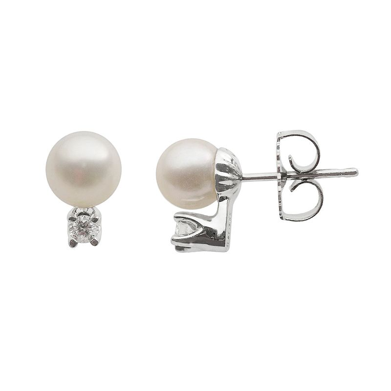 18k White Gold AA Akoya Cultured Pearl and 1/10-ct. T.W. Diamond Stud Earrings (6-6.5 mm)