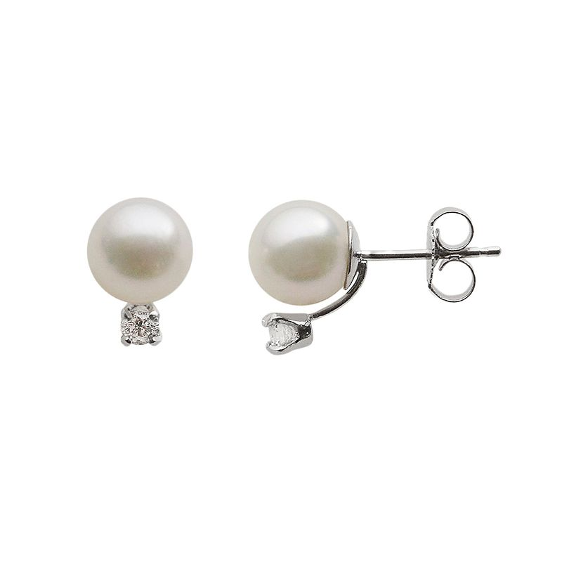 18k White Gold AA Akoya Cultured Pearl and 1/7-ct. T.W. Diamond Stud Earrings (7-7.5 mm)