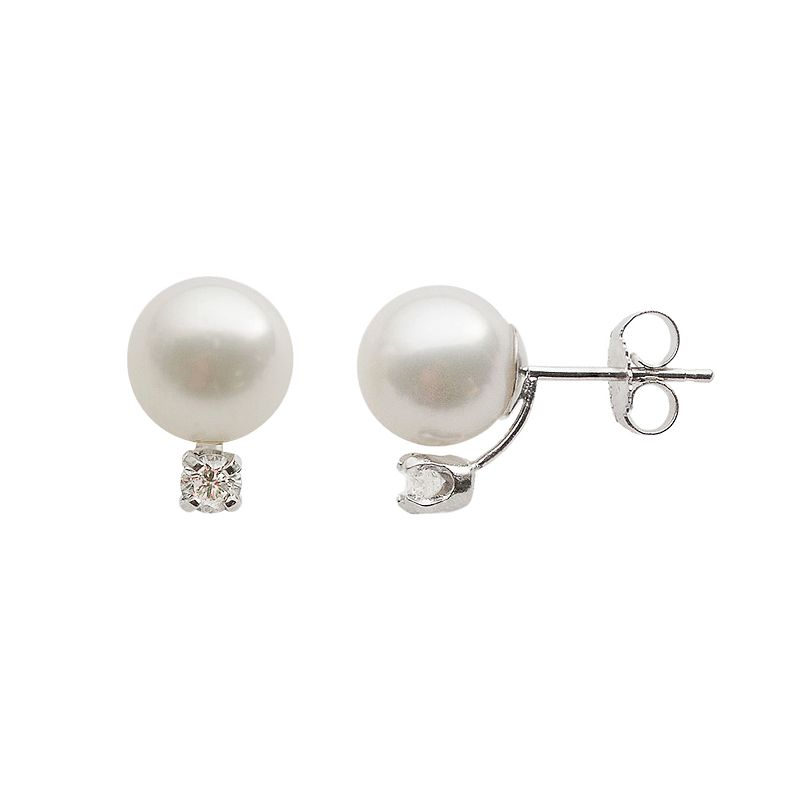 18k White Gold AA Akoya Cultured Pearl and 1/5-ct. T.W. Diamond Stud Earrings (8-8.5 mm)