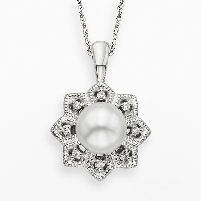 Simply Vera Vera Wang Sterling Silver Freshwater Cultured Pearl and Diamond Accent Flower Pendant
