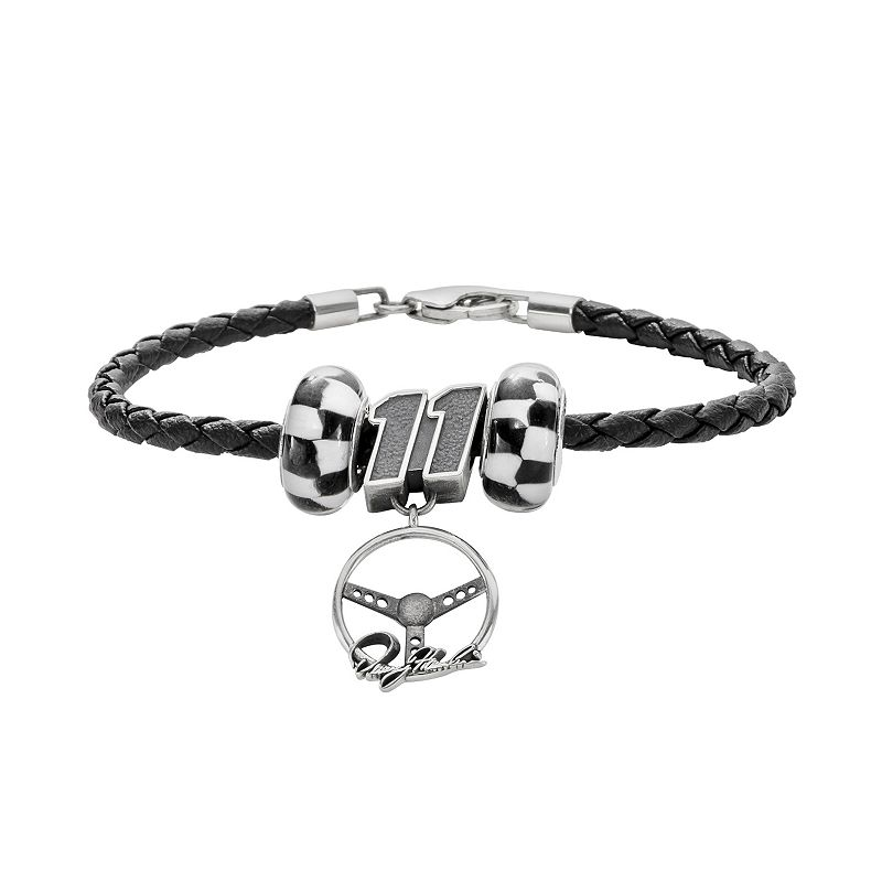 Insignia Collection NASCAR Denny Hamlin Leather Bracelet and Steering Wheel Charm and Bead Set