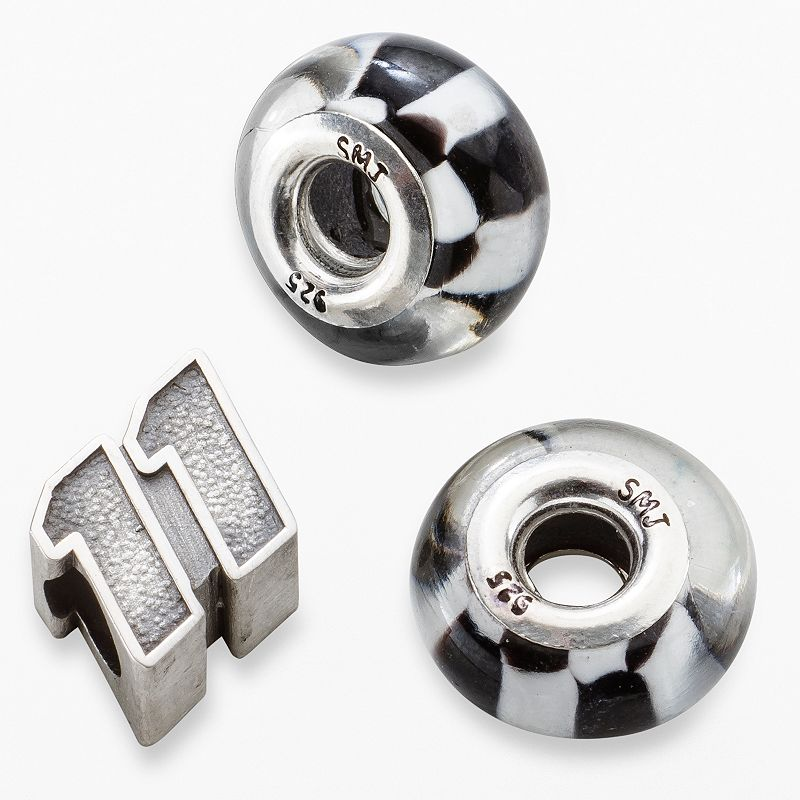 Insignia Collection NASCAR Denny Hamlin Sterling Silver 11 and Checkered Flag Bead Set