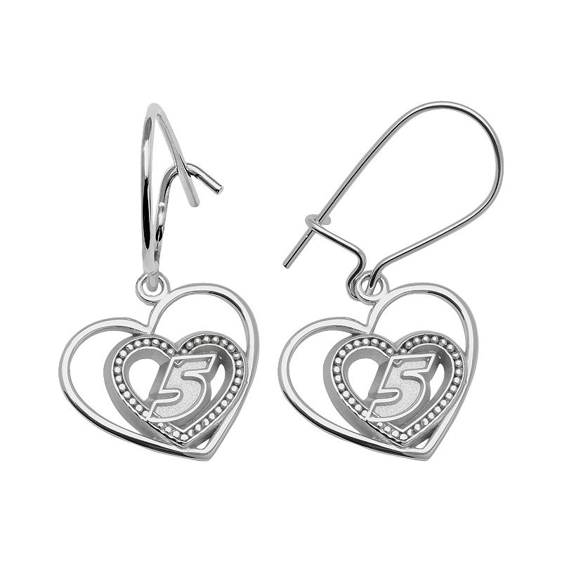 Insignia Collection NASCAR Kasey Kahne Sterling Silver 5 Heart Drop Earrings