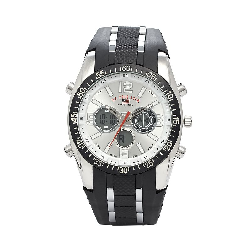 U.S. Polo Assn. Mens Analog and Digital Rubber Chronograph Watch - US9061B