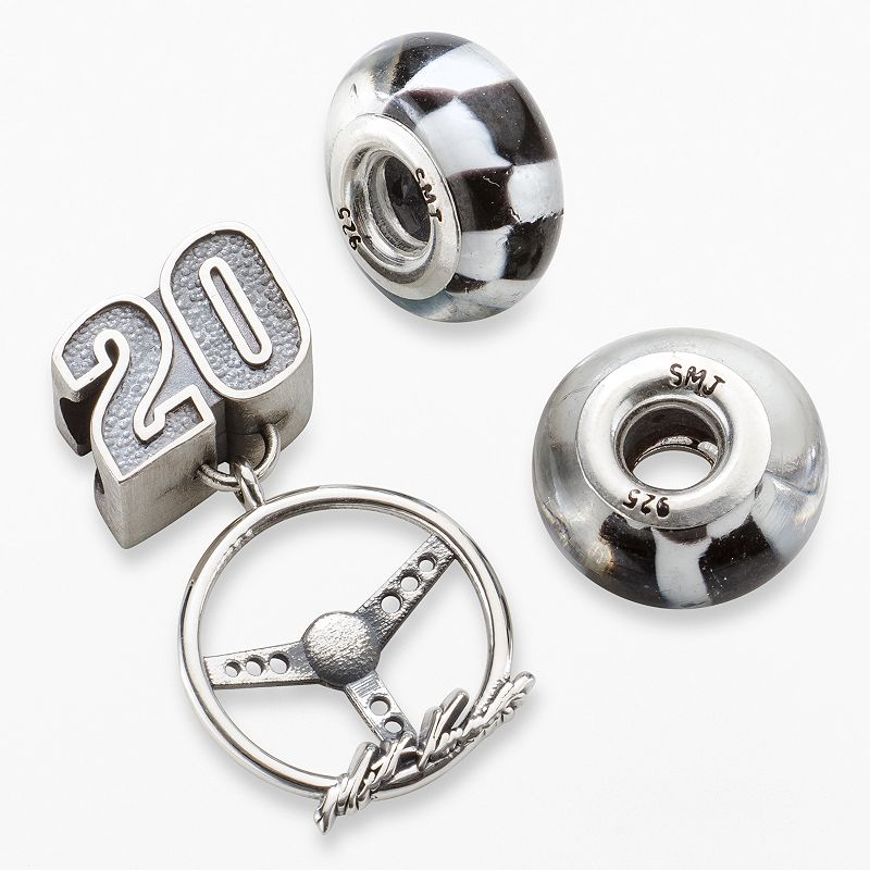 Insignia Collection NASCAR Matt Kenseth Sterling Silver 20 Steering Wheel Charm and Checkered Flag Bead Set