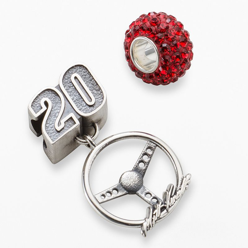 Insignia Collection NASCAR Matt Kenseth Sterling Silver 20 Steering Wheel Charm and Crystal Bead Set