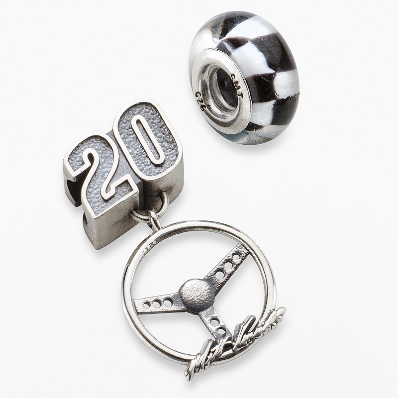 Insignia Collection NASCAR Matt Kenseth Sterling Silver 20 Charm and Checkered Flag Bead Set