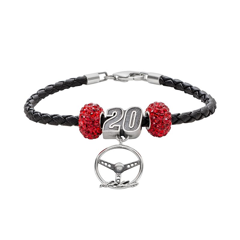 Insignia Collection NASCAR Matt Kenseth Leather Bracelet and Steering Wheel Charm and Crystal Bead Set
