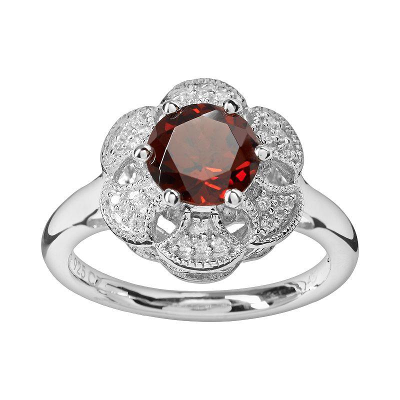 Simply Vera Vera Wang Sterling Silver Garnet and 1/10-ct. T.W. Diamond Flower Ring