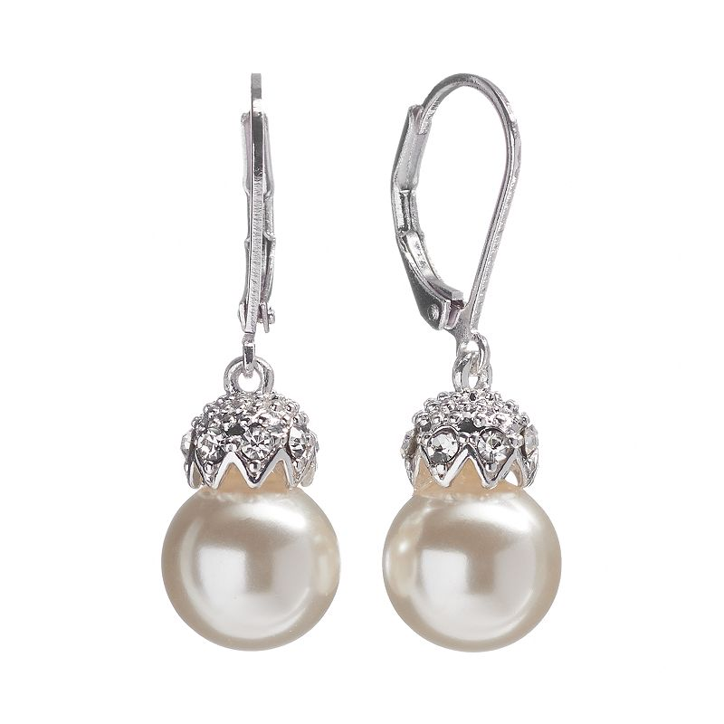 Croft & Barrow® Silver Tone Simulated Pearl and Simulated Crystal Drop Earrings