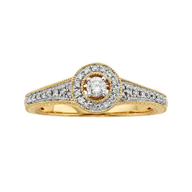 Round-Cut Diamond Halo Engagement Ring in 10k Gold (1/4 ct. T.W.)