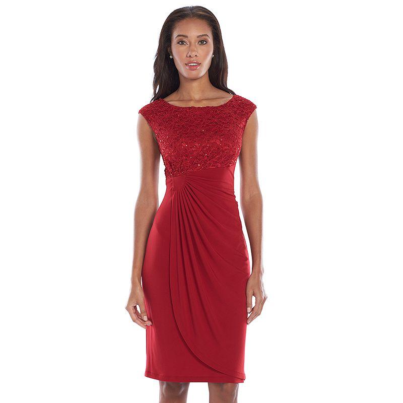 Connected Apparel Sequin Faux-Wrap Dress - Women's