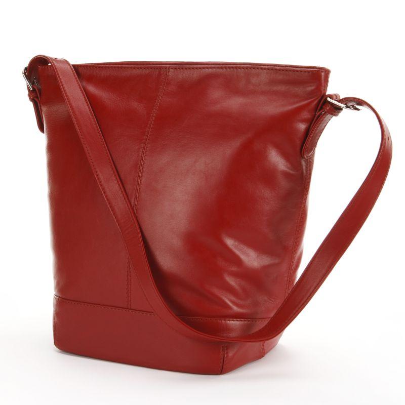 ili Leather Bucket Bag, Women's, Red