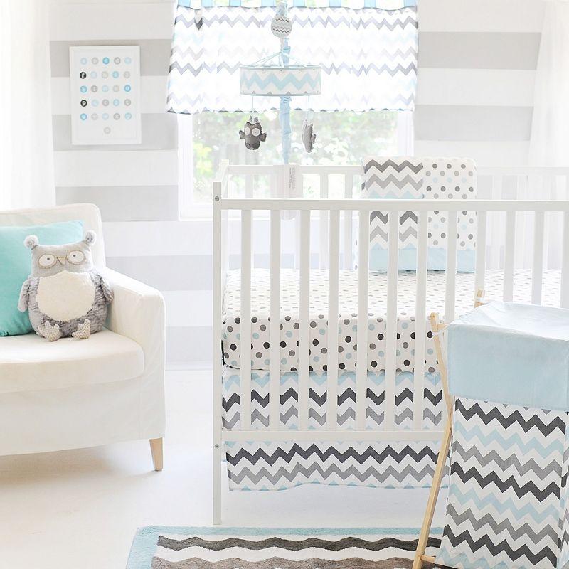 My Baby Sam Chevron 3-pc. Crib Set - Aqua & Gray