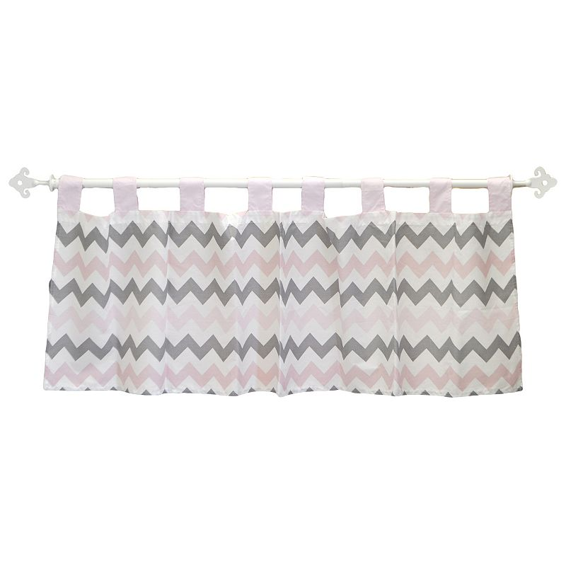 My Baby Sam Chevron Valance - Pink & Gray