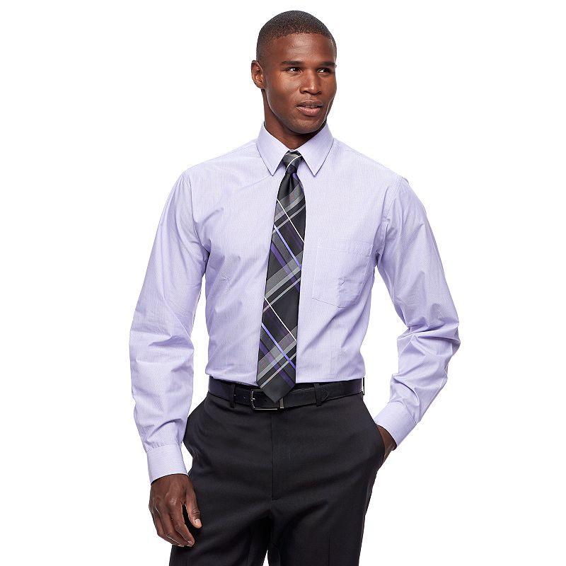 Men's Arrow Classic-Fit Fineline-Striped Wrinkle-Free Dress Shirt